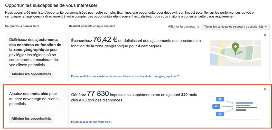 Onglet opportunités Google Adwords